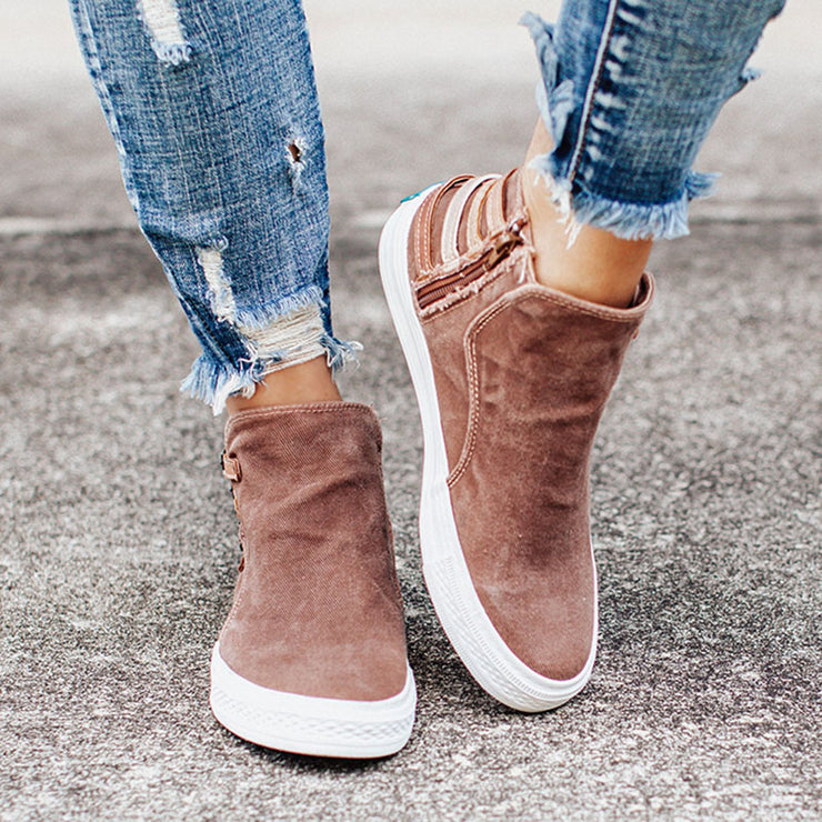 Women's Casual Canvas High-Top Sneakers With Side Zipper