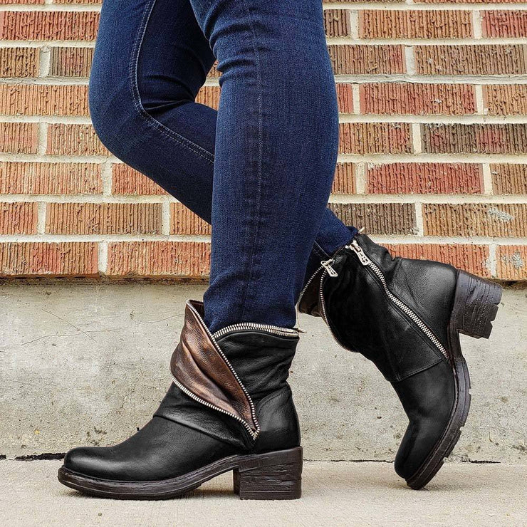 Women's Vintage Mixed Colors Split Joint Chunky Heel Boots