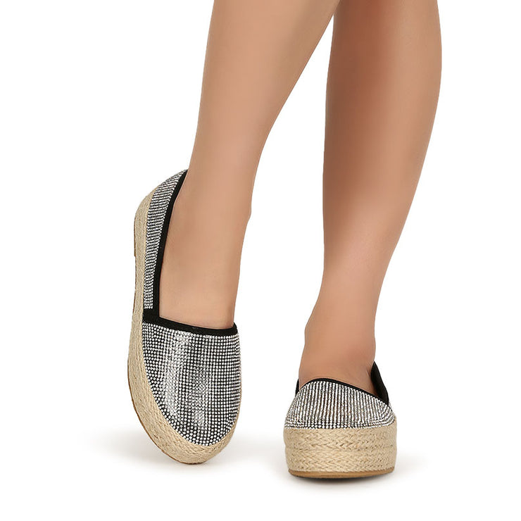 Women's Comfy Rhinestone Slip-On Canvas Casual Platform Shoes Espadrilles