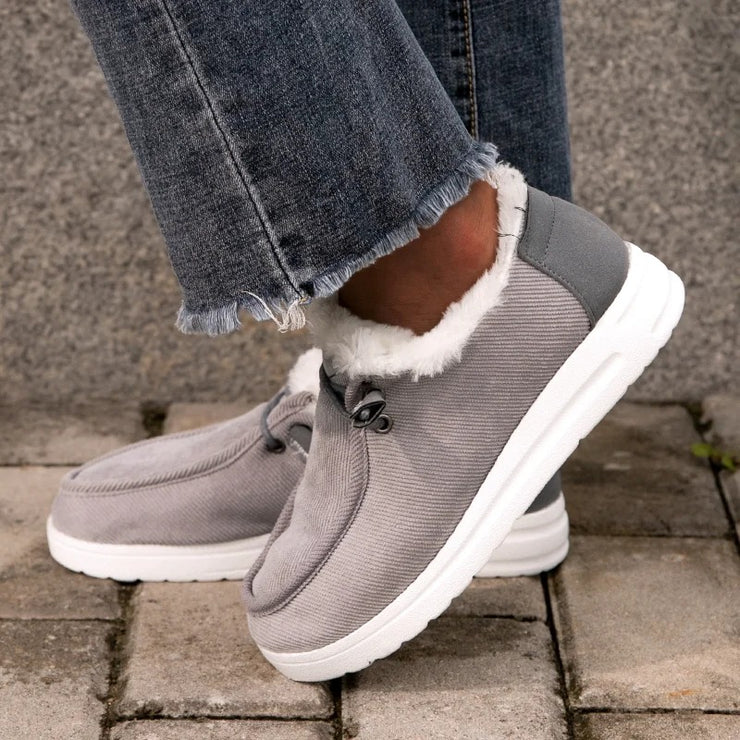 Women's Comfy Flat Heel Slip-on Booties With Warm Lining