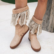 Women's Boho Shoes Cotton Canvas Cowboy Linen Fringe Boots