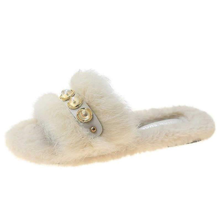 Women's Cozy Puffy Artificial Fur Imitation Pearl Flat Heel Slippers
