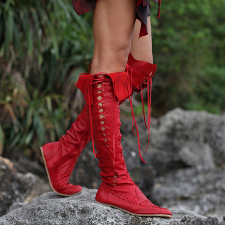 Women's Vintage Lace Up Leather Handmade Knee High Boots