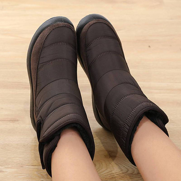 Women Cozy Waterproof Inner Fur Velcro Platform Snow Boots