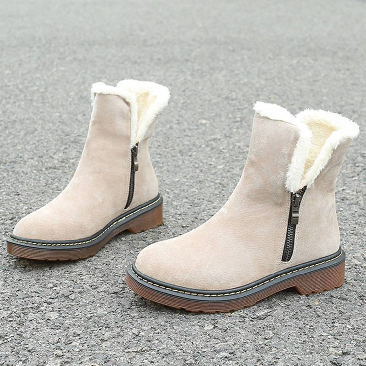 Women Comfortable Artificial Suede Solid Color Zipper On Both Sides Cotton Snow Martin Boots