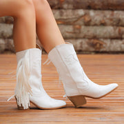 Women's Vintage Western Embroidered Cowgirl Fringe Boots