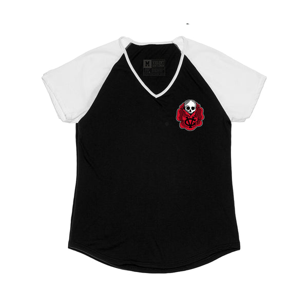 Bloom Womens Raglan - Black/White - Women's T-Shirts - Violent Gentlemen