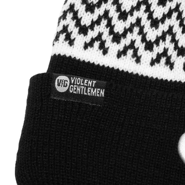 Winger Pom Beanie - Black/White - Beanies - Violent Gentlemen