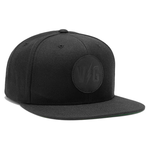 Blacked Out Leather Patch Hat - Black - Hats - Violent Gentlemen