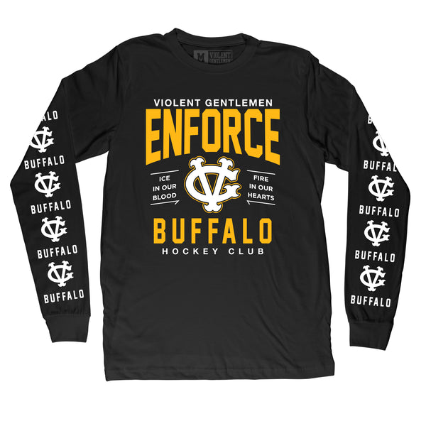 Enforce Buffalo Long Sleeve Tee - Black - Men's T-Shirts - Violent Gentlemen
