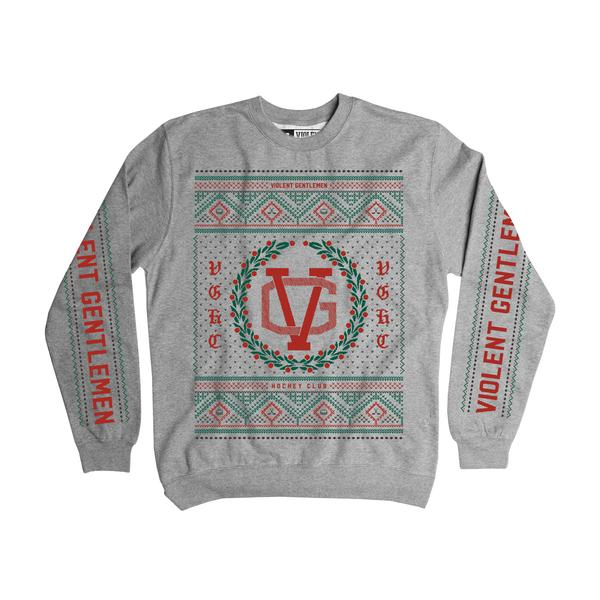 VG Ugly Christmas Sweater Crew Neck - Grey - Men's Fleece Tops - Violent Gentlemen