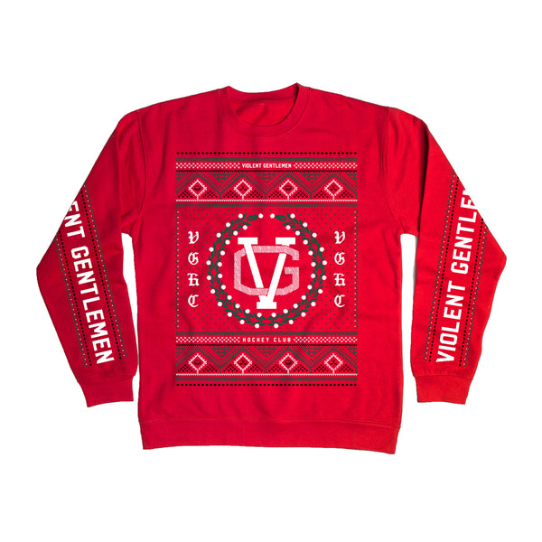 VG Ugly Christmas Sweater Crew Neck - Red - Men's Fleece Tops - Violent Gentlemen