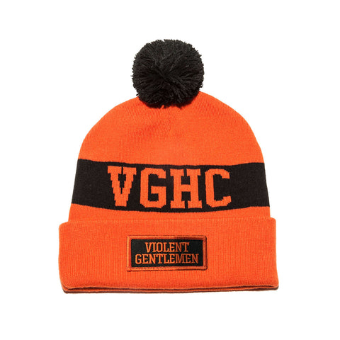 VGHC Pom Beanie - Orange/Black - Beanies - Violent Gentlemen