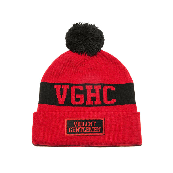 VGHC Pom Beanie - Red/Black - Beanies - Violent Gentlemen