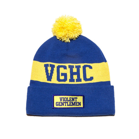 VGHC Pom Beanie - Royal Blue/Yellow - Beanies - Violent Gentlemen