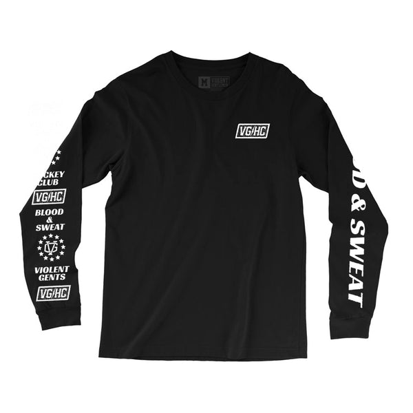 Blood & Sweat Long Sleeve Tee - Black - Men's T-Shirts - Violent Gentlemen