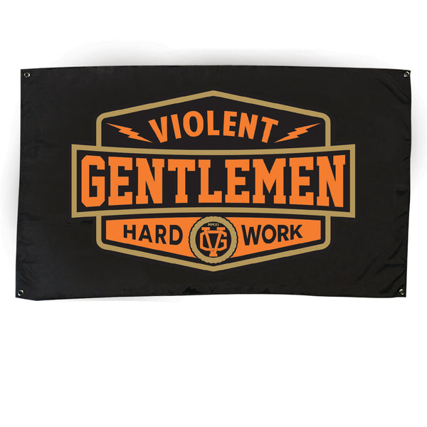 Hard Work Flag - Black/Orange - Accessories - Violent Gentlemen