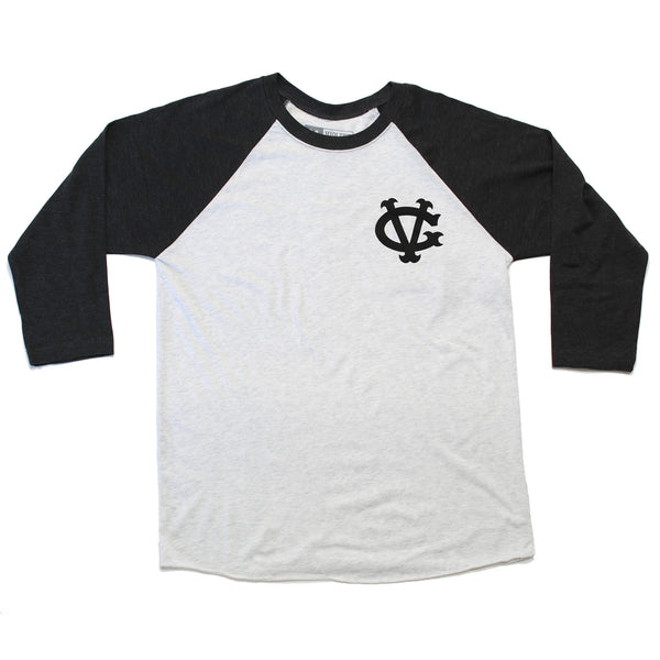 Winger Raglan Tee - Black/Heather White - Men's T-Shirts - Violent Gentlemen