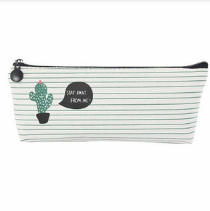 Creative simple cactus canvas pencil case