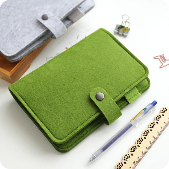 Simple snap felt fabric notebook