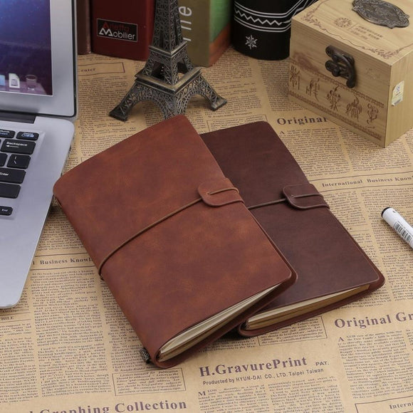 Vintage hardcover faux leather spiral notebook