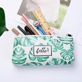 Green leaf student leather pencil case