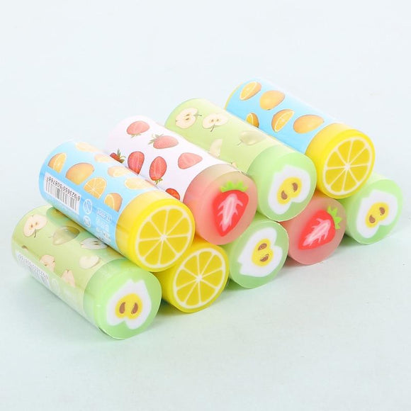Creative cute fruit cylinder eraser
