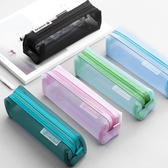 Love solid color transparent pencil case student