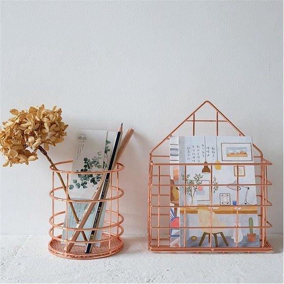 European minimalist rose gold metal pen holder