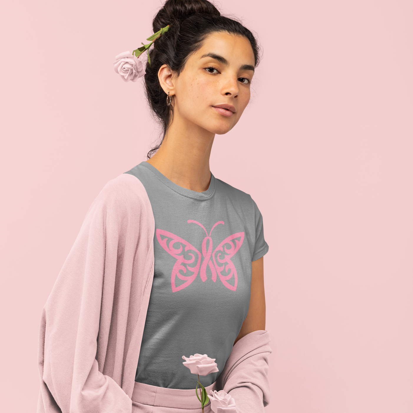 Breast Cancer Awareness Butterfly Tee