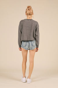 Steel Grey Burnout Boxy Crop Crew
