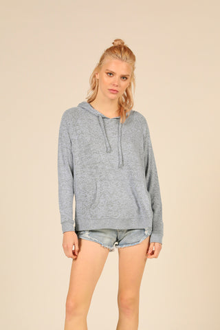Heather Blue Brushed Hacci Side Slit Hoodie