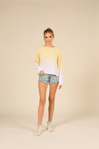 Sunset Yellow Burnout Dip Dye Crewneck