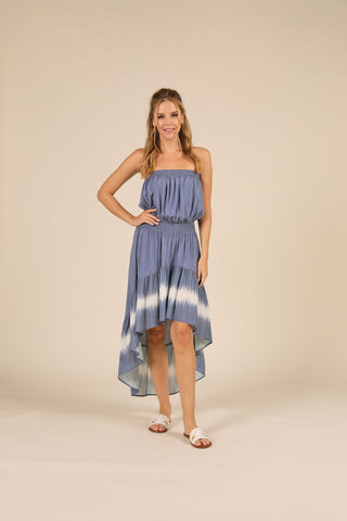 Dusty Denim Bleach Tie Dye High Low Strapless Dress