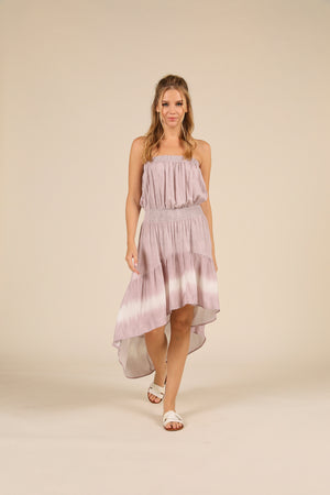 Dusty Lavender Bleach Effect Tie Dye Dress