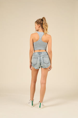 Heather Blue Brushed Hacci Racerback Crop Top