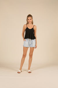 Denim Waist Tie Shorts