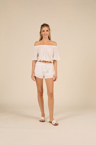 White Crochet Trim Crepe Smocked Short