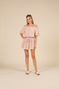 Rose Crochet Trim Crepe Off Shoulder Mini Dress