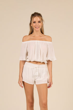 White Crochet Trim Crepe Off Shoulder Top