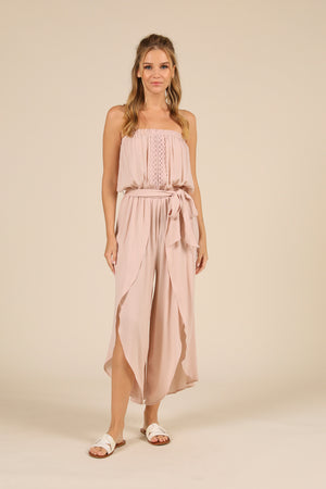 Rose Strapless Crocket Ruffle Jumpsuit