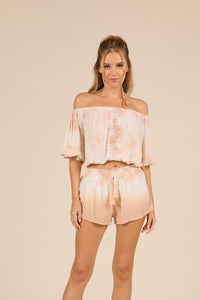 Dip Dye Crochet Trim Crepe Off Shoulder Top