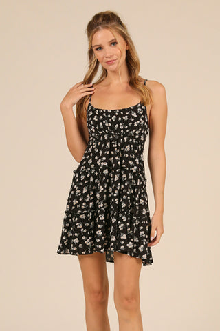 Black Ditsy Floral Ruffle Dress
