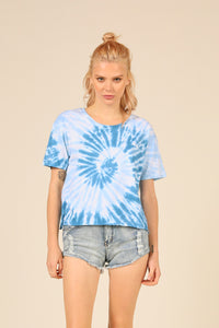 Nautical Swirl Tie Dye Boxy Cropped Tee