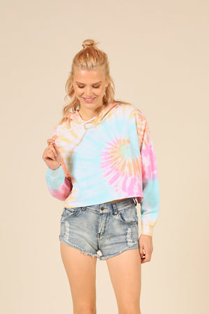 Beach Bum Tie Dye French Terry Boxy Crop Hoodie