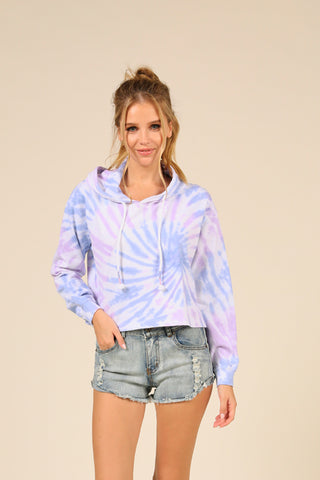 Blue Moon Tie Dye French Terry Boxy Crop Hoodie