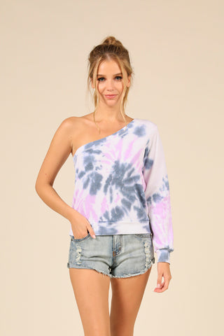 Cali Swirl Tie Dye Burnout One Shoulder Top