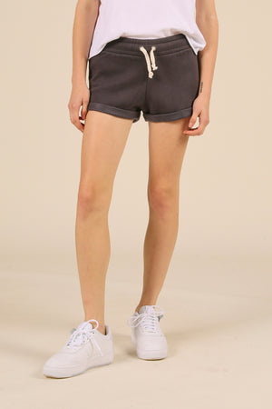 Washed Black Beach Drawstring Short