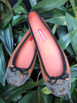 MEHER KAKALIA LEATHER BEADED BALLERINAS - BURMA_COMMANDER