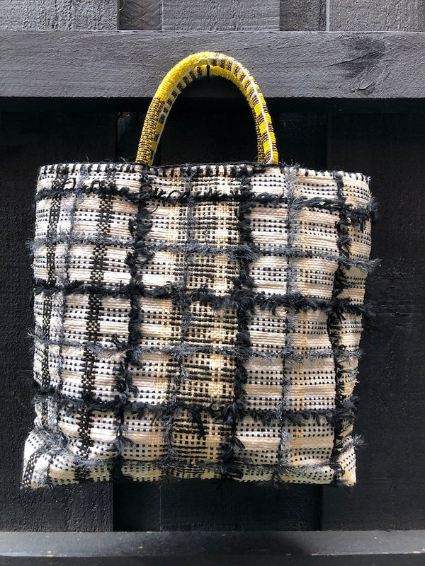 EN SHALLA RECYCLED TOTE - BEADED HANDLE